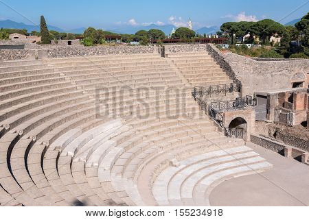 Small Roman theater in the ancient city of Pompeii Italy