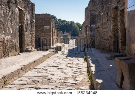 Street in the ancient city of Pompeii destroyed during a catastrophic eruption of the volcano Mount Vesuvius in 79 AD