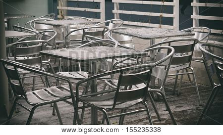 Metal Furniture, Street Cafés, Metal Chairs, Metal Table, Winter Cafe