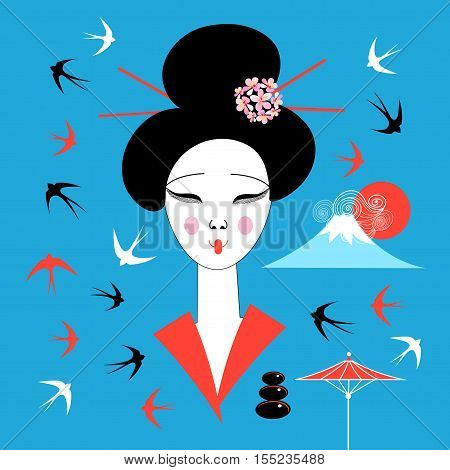 Vector portrait of a Japanese geisha on a blue background with swallows