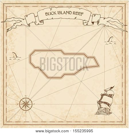 Buck Island Reef Old Treasure Map. Sepia Engraved Template Of Pirate Island Parchment. Stylized Manu