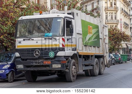 Thessaloniki, Greece - November 05 2016: Garbage track collector. Municipality of Thessaloniki is responsible for collecting garbage with about 80 garbage trucks available.