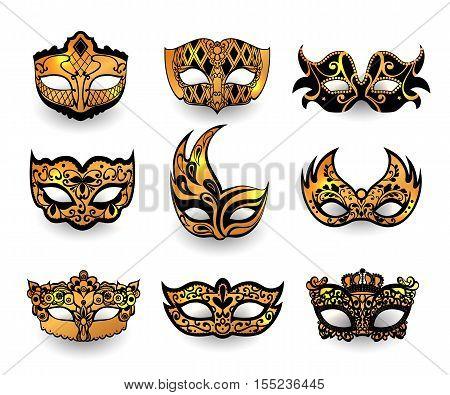 Festive masks isolated on white background. Realistic face mask icon set vector illustration.
