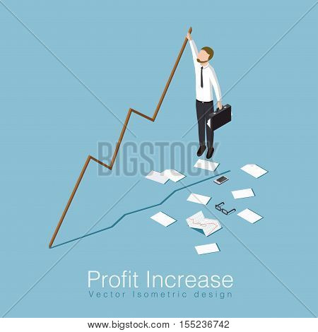 Profit increase isometric concept vector illustration. Business man has unexpected a big stock profit and trying to keep up with increasing stock rates.
