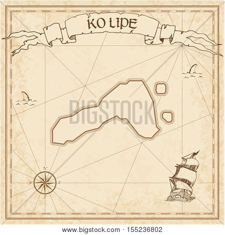 Ko Lipe Old Treasure Map. Sepia Engraved Template Of Pirate Island Parchment. Stylized Manuscript On