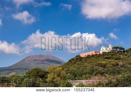View of Missionari Redentoristi Colle Sant alfonso with Mount Vesuvius in the background Italy