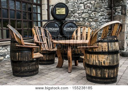 United Kingdom, Scotland 17.05.2016 Glen Grant Speyside Single Malt Scotch Whisky Trails Distillery visit production furniture
