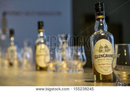 United Kingdom Scotland 17.05.2016 Glen Grant Speyside Single Malt Scotch Whisky Trails Distillery visit production bottles