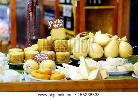 Selection Of Cheeses On Typical Italian Farmer Market