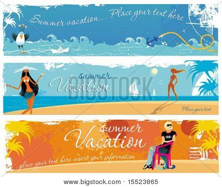 Vacation girls banners. To see similar, please VISIT MY GALLERY.