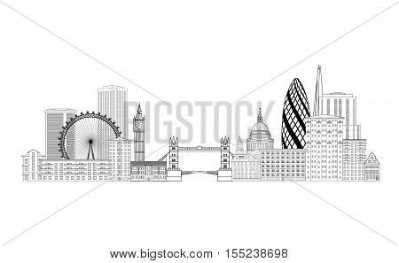 London skyline. London cityscape with famous landmarks and buildings. Travel Untied Kingdom baclkground