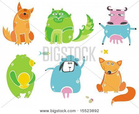 Cute animals- vector set. To see similar, please VISIT MY GALLERY.