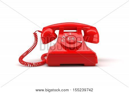 Old style phone with call us words and clipping path. 3D rendering.