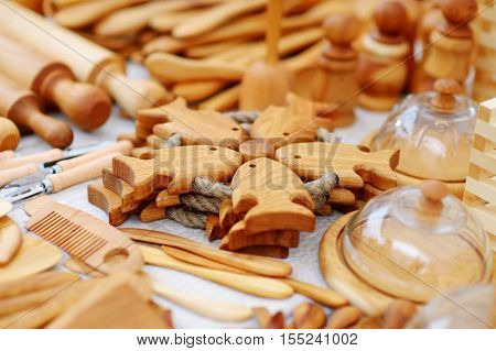 Wooden Kitchenware And Decorations Sold On Easter Market In Vilnius