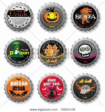Spooky Halloween bottle caps. To see similar, please VISIT MY GALLERY.