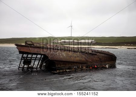 Orkney island Scotland at scapa bay sunken old rusty ship wreck 2