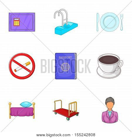Staying in hotel icons set. Cartoon illustration of 9 staying in hotel vector icons for web