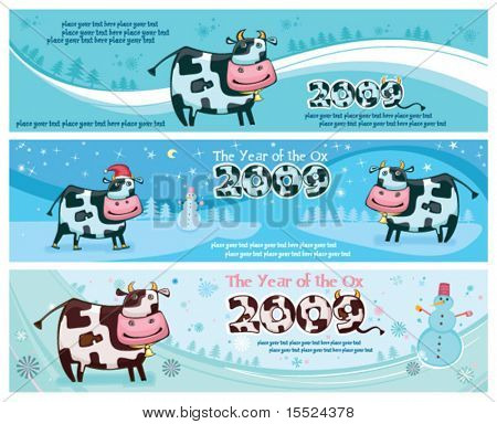 Cute friendly cow banners. 2009 is the Year of the Ox according to the Chinese Zodiac.