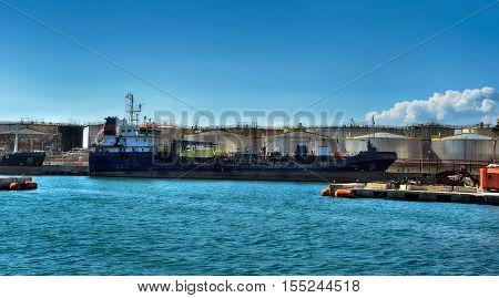 cargo ship waiting in the port Genova