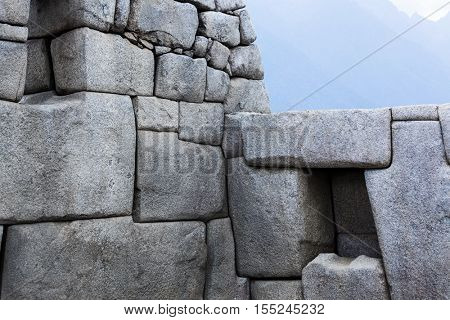 stone wall close-up in Machu Picchu