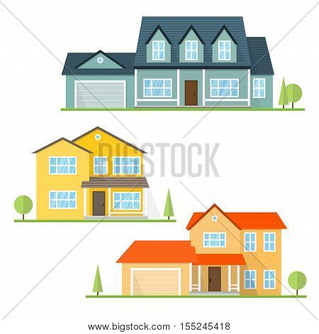 Vector flat icon suburban american house. For web design and application interface, also useful for infographics. Family house icon isolated on white background.