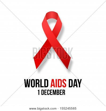 Vector illustration of hiv, aids awareness background isolated on white.World Aids Day concept. 1 December. Red ribbon emblem.