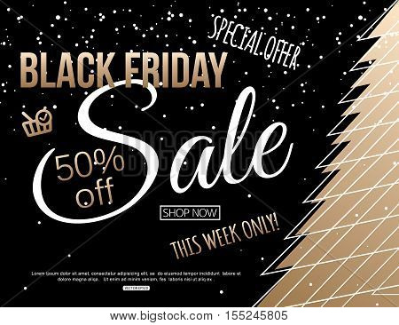 Black Friday Sale Banner Template with christmas tree for shopping, mobile devices, online shop. Vector illustration eps10 format.