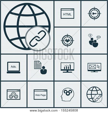 Set Of Advertising Icons On Brain Process, Digital Media And Keyword Marketing Topics. Editable Vect