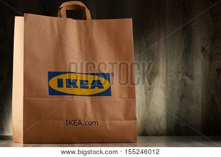 POZNAN POLAND - NOV 3 2016: Founded in Sweden in 1943 IKEA is world's largest furniture retailer operates 384 stores in 48 countries it is selling about 12000 products