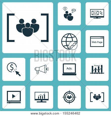 Set Of Seo Icons On Connectivity, Seo Brainstorm And Focus Group Topics. Editable Vector Illustratio