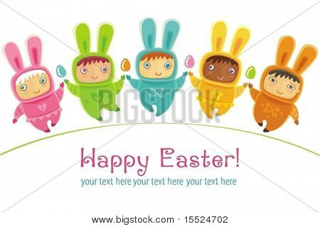 Easter greeting card with cute little babies dressed as an Easter Bunnies. To see similar, please VISIT MY GALLERY.