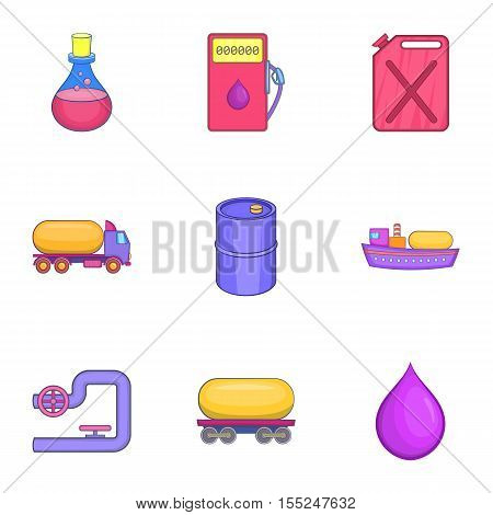 Gasoline icons set. Cartoon illustration of 9 gasoline vector icons for web