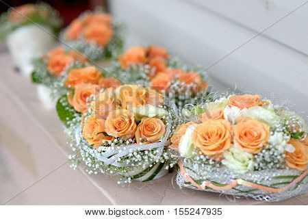 Bridesmaids Bouquets For A Wedding Ceremony