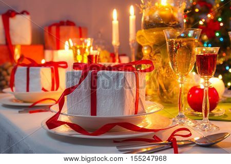 Christmas Eve dinner by candlelight and gifts