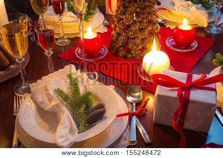 Table full of Christmas goodies and gifts