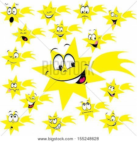 star of Bethlehem with many facial expression - vector funny illustration
