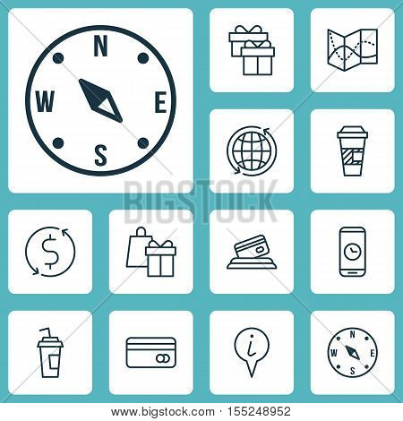 Set Of Travel Icons On Info Pointer, Shopping And Drink Cup Topics. Editable Vector Illustration. In