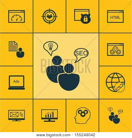 Set Of Marketing Icons On Digital Media, Website Performance And Market Research Topics. Editable Ve