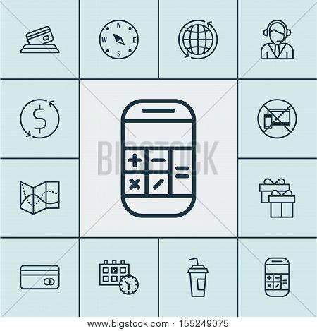Set Of Transportation Icons On World, Credit Card And Money Trasnfer Topics. Editable Vector Illustr