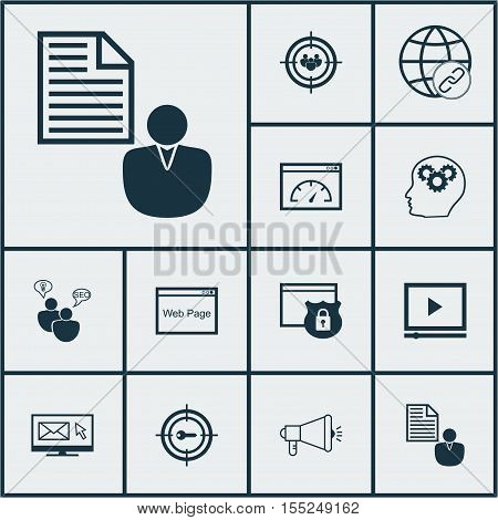 Set Of Seo Icons On Focus Group, Newsletter And Security Topics. Editable Vector Illustration. Inclu
