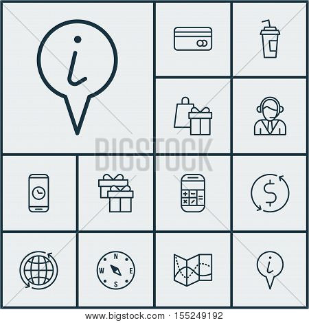Set Of Travel Icons On Shopping, Info Pointer And Calculation Topics. Editable Vector Illustration.
