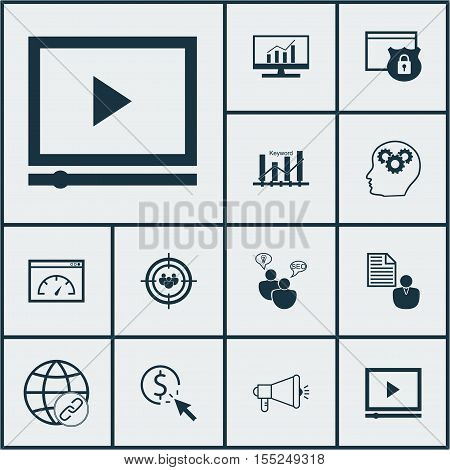 Set Of Seo Icons On Seo Brainstorm, Focus Group And Keyword Optimisation Topics. Editable Vector Ill