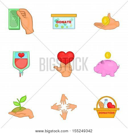 Patronage icons set. Cartoon illustration of 9 patronage vector icons for web