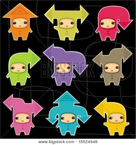 happy kids arrows vector illustration.  To see similar, please VISIT MY PORTFOLIO