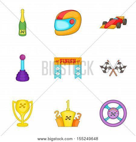 Championship formula 1 icons set. Cartoon illustration of 9 championship formula 1 vector icons for web