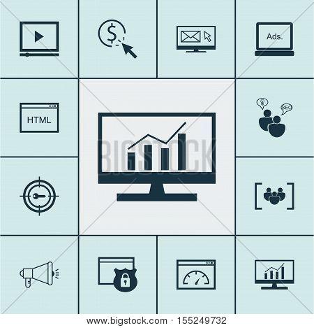 Set Of Advertising Icons On Seo Brainstorm, Loading Speed And Keyword Marketing Topics. Editable Vec