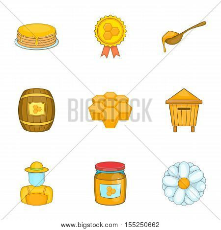 Beekeeping icons set. Cartoon illustration of 9 beekeeping vector icons for web