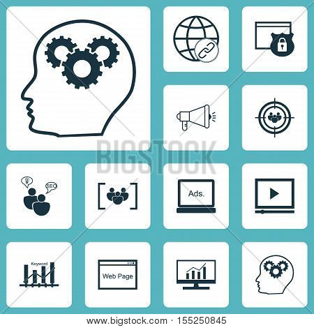 Set Of Seo Icons On Digital Media, Connectivity And Video Player Topics. Editable Vector Illustratio