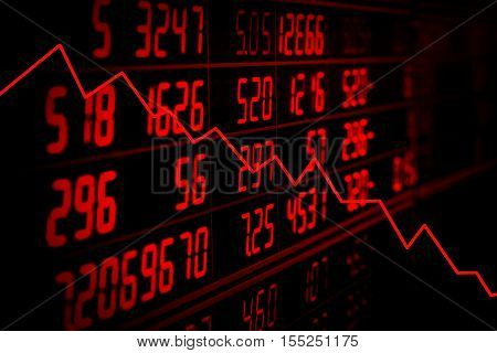 Display of red electronic board of stock market quotes with down trend graph. Recession concept
