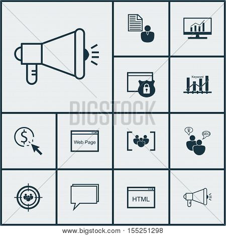 Set Of Marketing Icons On Focus Group, Market Research And Ppc Topics. Editable Vector Illustration.